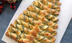 «Крученая разрывная новогодняя ёлка» – горячая закуска с сыром и шпинатом