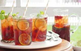 Освежающий сладкий чай с малиной и цитрусовыми