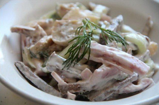 Мясной салат с говяжьим языком
