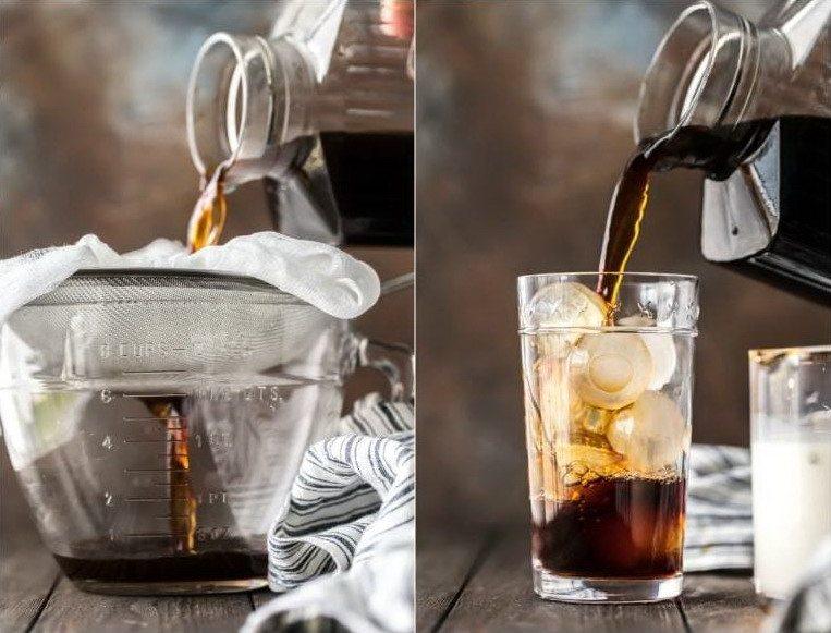Холодный кофе через фильтр, с кубиками льда в стакане