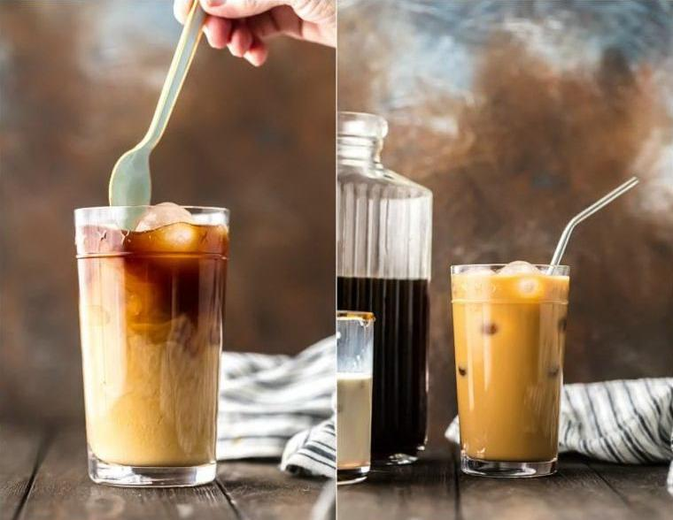 Холодный кофе с водой комнатной температуры и со сливками