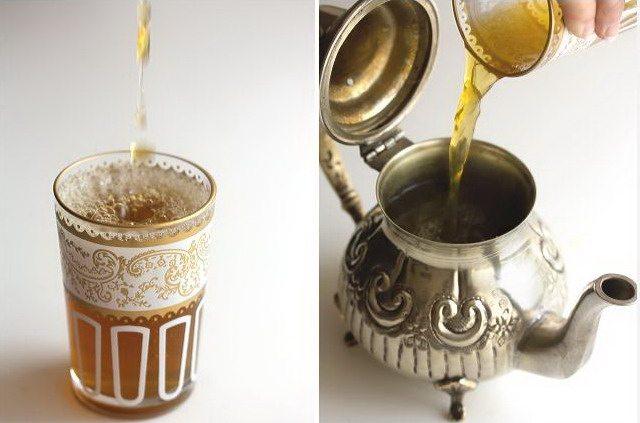 Мятный марокканский чай в стакане и в чайнике