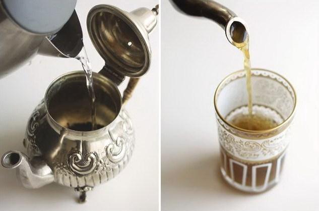 Марокканский чай в чайнике и в стакане